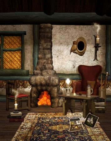Winter chalet interior photo
