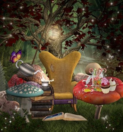Midsummer serie de sueños la noche - un lugar para la lectura Foto de archivo