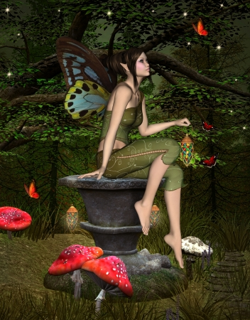 fantasy fairy: Green elf sits on a pedestal