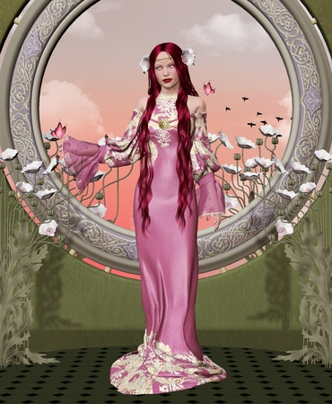 Elegant lady with pink long dress photo