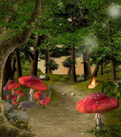 Enchanted nature series - Pathway in the magic forest photo