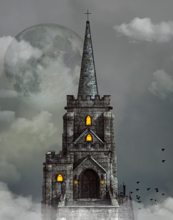 gothic church: Gothic church over the clouds