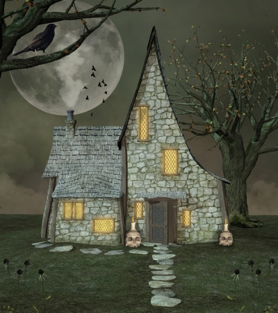 crown of light: Witch fantasy house Stock Photo