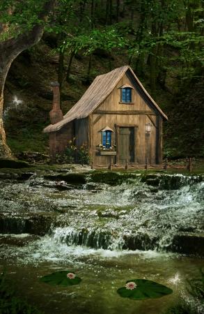 滝の上の家 写真素材