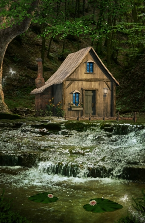 enchanted forest: House over the waterfalls Stock Photo
