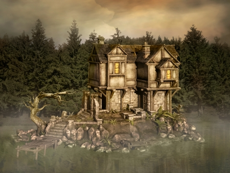 scary forest: Mysterious house in the middle of the enchanted lake Stock Photo