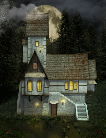 refuge: Strange house by night Stock Photo