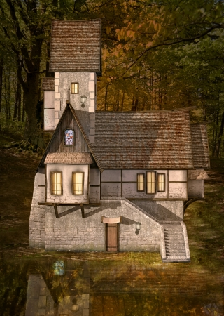 Strange house into the forest photo