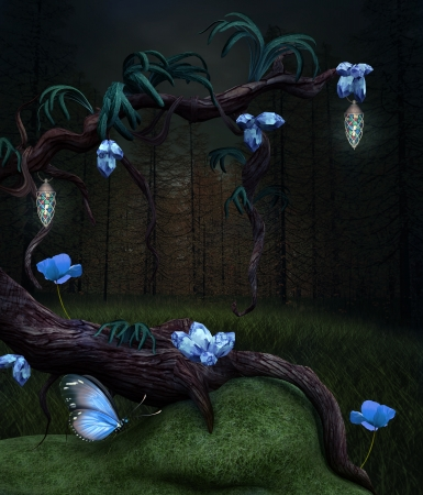 enchanted forest: The magic tree Stock Photo