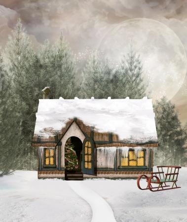 christmas sleigh: Winter little cottage Stock Photo