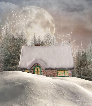 mountain scene: Winter cottage Stock Photo
