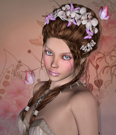 Illustration of a beautiful woman with orchids on her hair illustration