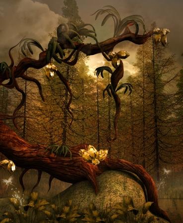 fairytale background: Illustration of a golden tree