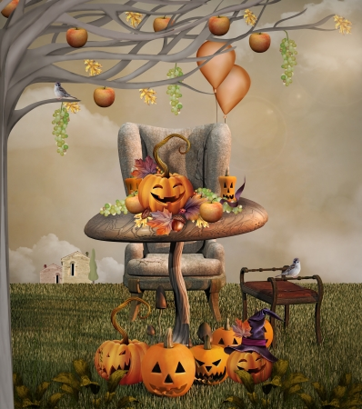 Illustration  of a Halloween pumpkins banquet Stock Illustration - 21743812