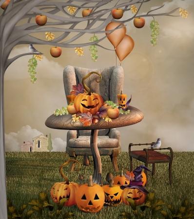 jack o lantern: Illustration  of a Halloween pumpkins banquet