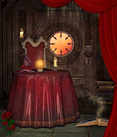 enchantment: Illustration  of a Fortuneteller room Stock Photo