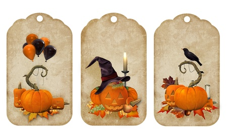 paper spell: Halloween vintage stickers Stock Photo