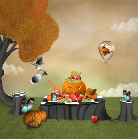 Halloween fruits picnic photo