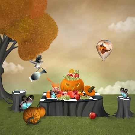 Halloween fruits picnic Stock Photo - 22342511