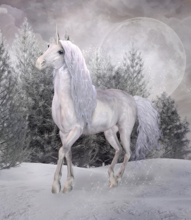 Beautiful unicorn in a winter scnery photo