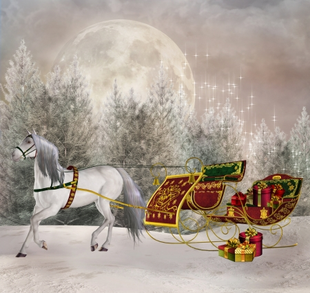 Santasleigh in an enchanted winter scenery  Stock Photo - 22342560