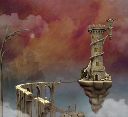 fantasy landscape: Fantasy world Stock Photo