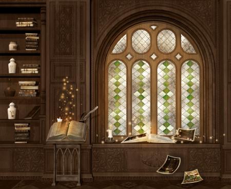 reading room: Ancient magic room Stock Photo
