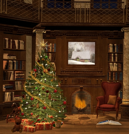 Ancient christmas room Imagens