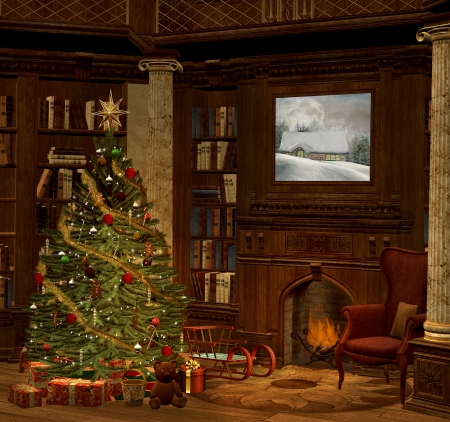 fireplace christmas: Christmas evening in an old room Stock Photo
