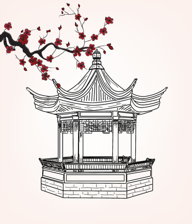 pavilion: Little pavilion with sakura branch Illustration