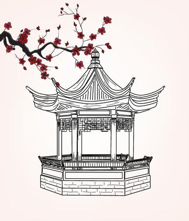 Kleine paviljoen met sakura tak