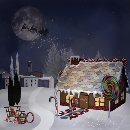 Gingerbread house by night Stock Photo - 23291333