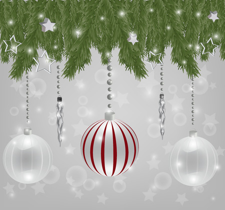 Christmas composition with crystal balls and icicles Vector