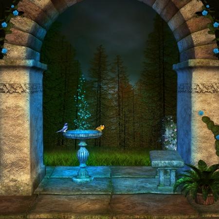 garden fountain: Blue garden