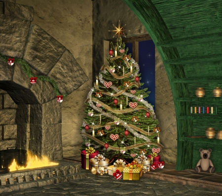 fireplace christmas: Christmas in an old house