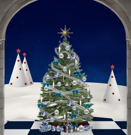 nocturne: Blue christmas tree Stock Photo