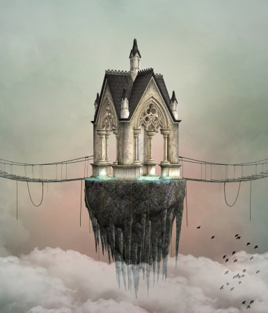 house fly: Fantasy flying house Stock Photo