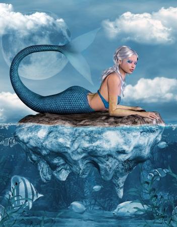人魚、岩の上 写真素材