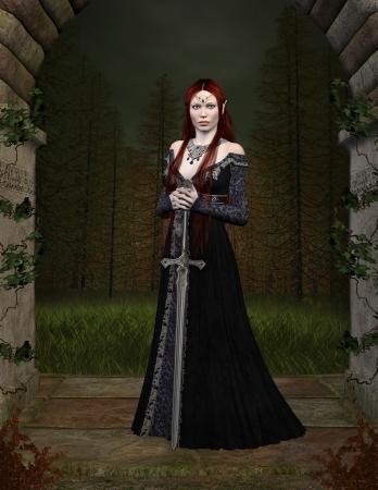 beauty queen: Elf guardian Stock Photo