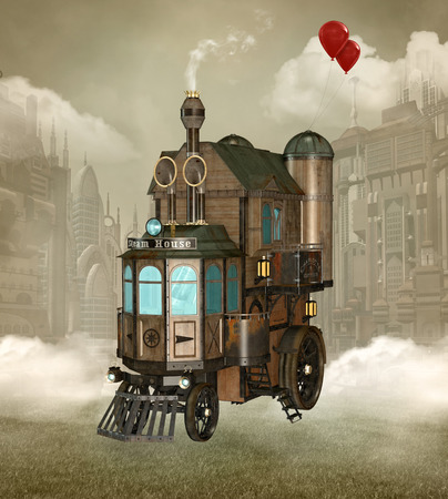 Surreal steam punk house Stockfoto