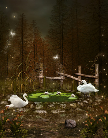 mere: Enchanted nature series - Little green pond with swans Stock Photo