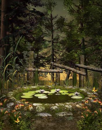 Droom van de midzomernacht serie - De groene vijver Stockfoto - 26622664