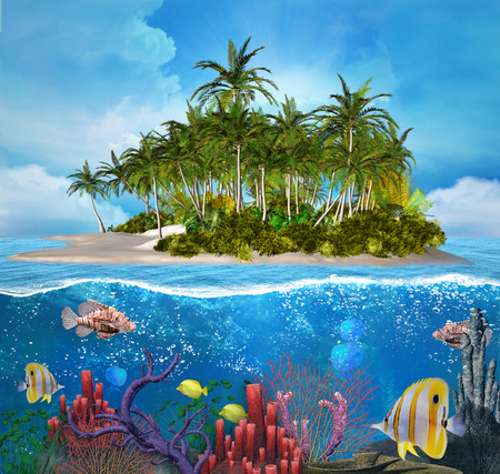 Blue island and coral reef photo