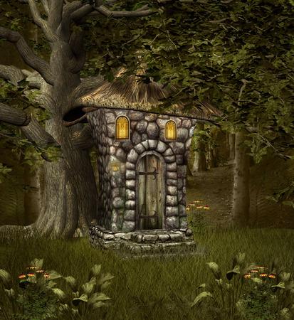 portone: Casa Elf nel mezzo della foresta
