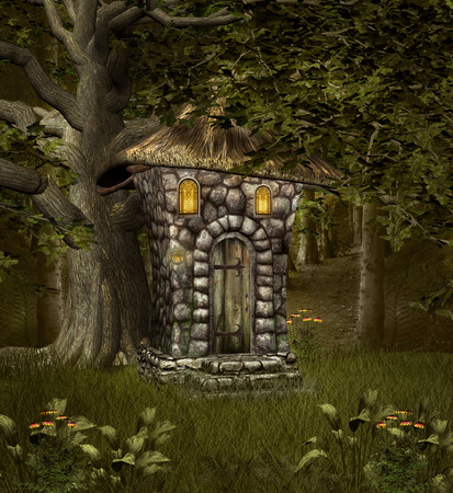 undergrowth: Elf house in the middle of the forest