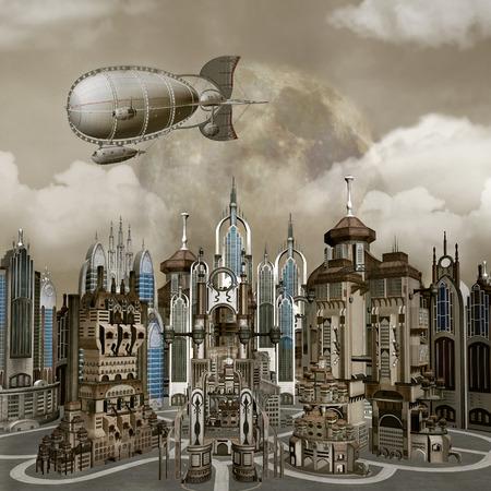 airship: Cityscape Stock Photo