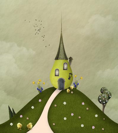 pear tree: Green hill