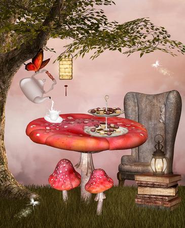 suggestive: Wonderland series - Tea time Stock Photo