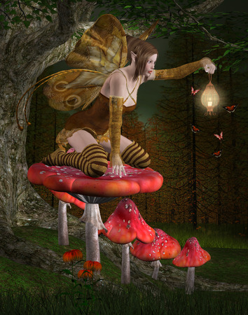 Midsummer night s dream series - Fairy into the wood Stock Photo - 28511004