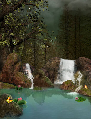 waterfall in forest: Fantasy lake  Stock Photo